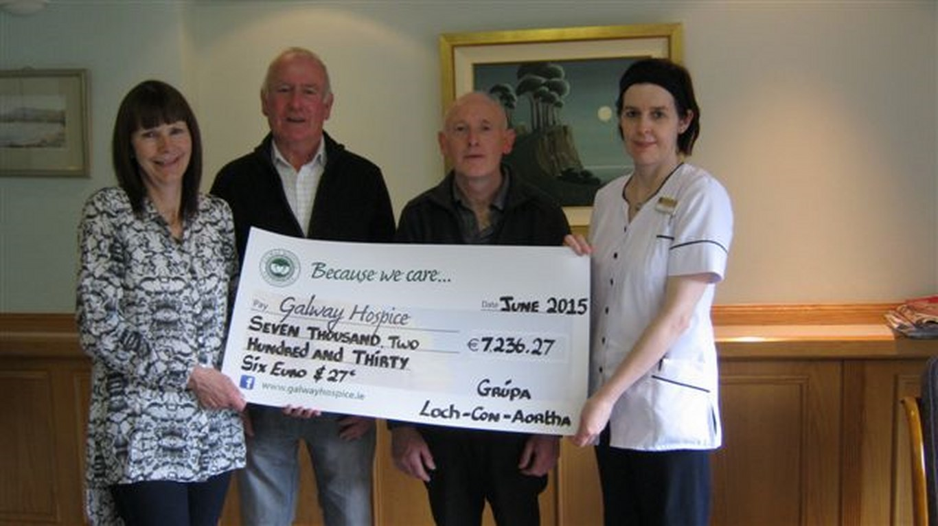 Pictured (l-r): Maureen Sullivan, Louis Ridge, Coleman Cooke and Lottie Morley of Galway Hospice. Absent from photo is Marcus Sullivan.