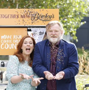 NO REPRO FEE 16/08/2018 It's Time to Get Brewing as Ireland's Biggest Coffee Morning for Hospice Together with Bewley's Returns Host a Coffee Morning for Your Local Hospice or Homecare Service on Thursday 20th September #Coffee4Hospice. Pictured are Brendan Gleeson together with Clelia Murphy launched Ireland's Biggest Coffee Morning for Hospice Together with Bewley's in St. Francis Hospice, Blanchardstown. Returning for its 26th year, they called on the people of Ireland to host a coffee morning on Thursday 20th September to help raise vital funds for their local hospice and homecare service. Photo: Sasko Lazarov/Photocall Ireland